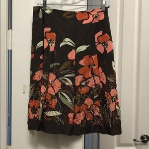 Talbots petite silk and cotton flare skirt